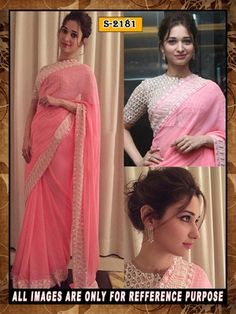 pink ambroidery georgette  party wear saree with blouse Bollywood Sarees Online on Shimply.com