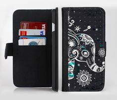 The Aztec Elephant Blue Accented Modern Illustration Ink-Fuzed Leather Folding Wallet Case For the Apple iPhone and Samsung Galaxy Devices