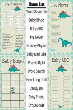 dinosaur baby shower   baby shower games  Printable baby shower games