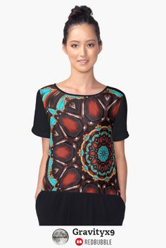 Wood texture & Turquoise color Pattern  - Abstract - Wood & Turquoise Pattern Chiffon Top at #Redbubble #Gravityx9 -