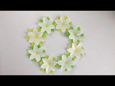 【折り紙】くちなしの花のリース Gardenia Flower Wreath - YouTube