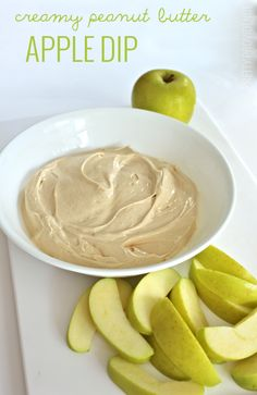 Creamy peanut butter apple dip. This is the most delicious dip you'll ever eat, and only three easy ingredients!
