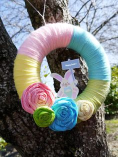 Spring Easter party wreath idea via Kara's Party Ideas karaspartyideas.com #wreath #easter #diy #spring #idea #ideas #party
