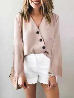 05909fd004df5 New Apricot Plain Buttons V-neck Going out Casual Blouse. Classy Going Out  OutfitsClassy ...
