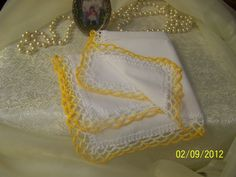 Crochet Yellow Lace Handkerchief / Hanky by LaceyThings on Etsy, $6.00
