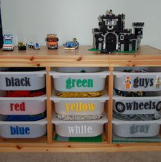For when my little man and my husband decide to pull out the legos. I have about 2 and a half more years until I am bombarded by legos. I Am Momma - Hear Me Roar: Feature Friday - Lego bins Legos, Trofast Ikea, Lego Storage, Lego Shelves, Playroom Storage, Storage Room, Storage Shelves, Lego Table, Table Desk