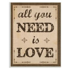 Stupell Decor All You Need Is Love Wall Plaque Art - MWP-281_WD_10X15