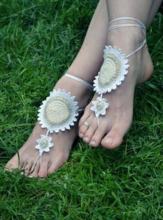 Beige Barefoot Sandals  Bridal Feet Accesories  Weddings by LinaBi, $16.00 beach friendly