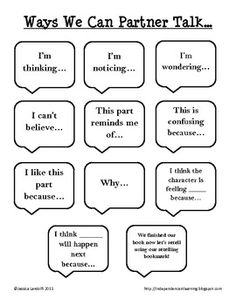 This anchor chart can be put into student's reader notebooks for reference during partner read time.  It can also be used during literature circles...
