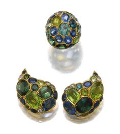 PAIR OF GEM SET AND DIAMOND EAR CLIPS AND A RING, SUZANNE BELPERRON, 1960