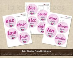 Baby month printable stickers. Instant download. 1 PDF file - 300 dpi. Baby monthly milestones digital file. Pink watercolor floral. This beautiful printable stickers are ideal for baby monthly pictures or as a gift for a baby shower. With this listing, you will get the file to print as many times as you wish (personal use only). SALE 50% OFF - Regular price : 5.00  * * * * You will receive * * * * 1 high resolution (300 dpi) 8.5x11 PDF file (3 pages), perfect for high quality printing…