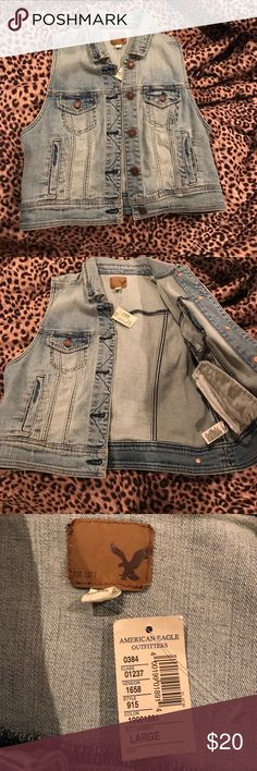 AMERICAN EAGLE JEAN VEST Never worn, tags still attached. Perfect condition, medium/light wash. From American eagle outfitters. Can pair with any type/color shirt. Size large , my bust size is 34 D and Im very built. Will fit a lot of sizes . Any questions please comment below and I'll be happy to help! American Eagle Outfitters Jackets & Coats Vests
