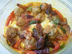 Quick Italian meatball bake. Pre-made meatballs and pre-roasted veggies make for a quick weeknight dinner.