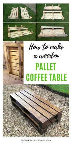 How to Build a Pallet Coffee Table Step by Step - Pallets DIY - Wooden Pallet Coffee Table, Wooden Pallet Projects, Diy Coffee Table, Wooden Pallets, Wooden Diy, Pallet Wood, Pallet Couch, Pallet Bar, 1001 Pallets