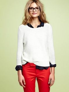 Scoop next sweater, red pants, patterned blouse. Via FabSugar, photo from Gap website.