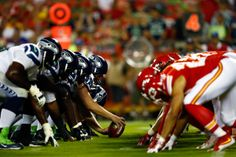 KANSAS CITY, MO - AUGUST 21:  The Seattle Seahawks line up against the Kansas City Chiefs during the preaseason game at Arrowhead Stadium on August 21, 2015 in Kansas City, Missouri.  (Photo by Jamie Squire/Getty Images) #GoHawks #SeahawksSB50 #SuperBowl3Pete