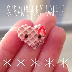 #kawaii #charms #polymer #clay #strawberry #heart #waffle
