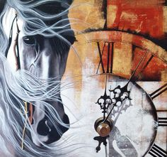 The hands of clock tick tock away the time. Horse runs with its galloping gait.  #IndianArt #Painting #Time #ArtWork #Art #Acrylic #Horse