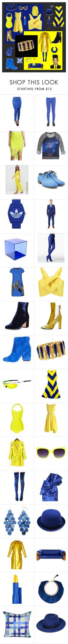 """royal blue & yellow fancy"" by tess-jr ❤ liked on Polyvore featuring CYCLE, Bisou Bisou, Scotch & Soda, ASOS, adidas, OppoSuits, Haziza, Fogal, Alice + Olivia and Delpozo"