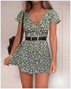 cute outfits for spring \ cute outfits . cute outfits for school . cute outfits with leggings . cute outfits for winter . cute outfits for women . cute outfits for school for highschool . cute outfits for spring Girly Outfits, Casual Summer Outfits, Outfits Spring, Summer Dress Outfits, Teen Dresses Casual, Cute Dress Outfits, Green Dress Casual, Dress Summer, Vintage Summer Outfits