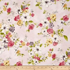 Painted Petals Metallic Painterly Floral Blush/Gold from @fabricdotcom  From Hoffman California International, this cotton print collection features watercolor-esque and sketched floral prints. Use for quilting, apparel, and home decor accents. Colors include shades of pink, green, orange, purple, white, black, and metallic gold accents.