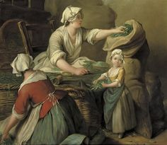 Kitchen maids selling vegetables in an interior by Jean-Baptiste Charpentier the Elder (1728-1806)