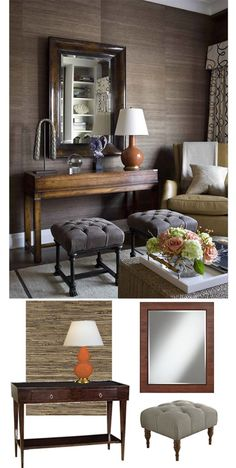Warm Textured Room with Grasscloth Wallpaper for Fall | #falldecorating #decoratingideas