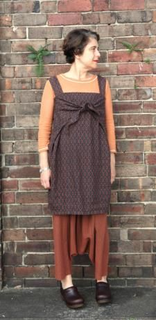 wrap tunic in Italian tile linen and Japanese cotton Dhoti pant