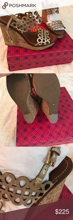 New in box Tory Burch gold wedges size 9 Size 9 Tury Burch new in box and never worn gold filigree wedges. Color is called platinum. Depending what size box I have at time purchase, Tory Burch box may not be included. Price is firm and I don't trade. Tory Burch Shoes Sandals