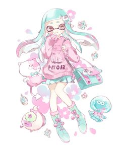 pastel and kawaii Splatoon inkling