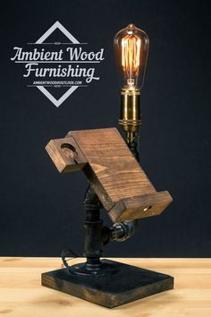 Industrial Pipe Lamp With Apple watch dock charger by AmbientWood