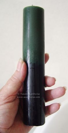 REVERSING CANDLE GREEN & BLACK CANDLE Wicca Witch Pagan Goth Spell