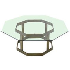 Octagonal Brass Base and Glass-Top Coffee Table