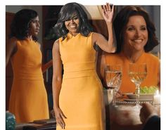 Julia Louis-Dreyfus's character on Veep wears a tangerine piece from Narciso Rodriguez, one of the designers' most popular looks ever.