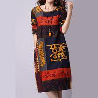 Spring Autumn Style Cotton Linen Vintage Print Plus Size Women Casual Loose Dress Vestidos Femininos 2015 Fashion Dresses