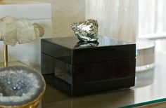 Luxe lacquer box with pyrite nugget!