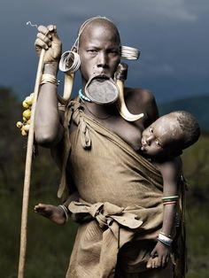 mursi tribe, portrait of nadogomi & bardomoye, photograph by joey ...