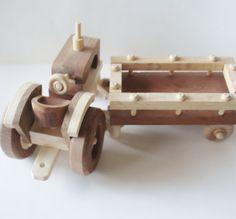 Childrens Toy   Natural Wood  Farm Tractor w by SandJPaperandWood, $85.00
