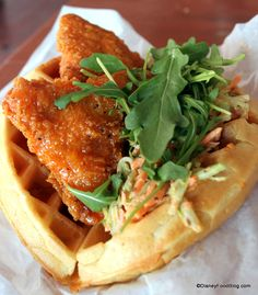 Sweet and Spicy Chicken Waffle Sandwich in Disney World -- MUST try!