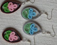 Paper quilled earrings pink and blue hand by nurtureyoursenses