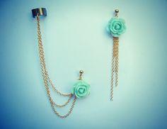 mint rose ear cuff and earrings, chain ear cuff, ear cuff with gold chains, asymmetrical earrings. $24.00, via Etsy.
