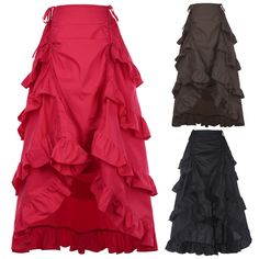 RED Gothic Corset Skirt Victorian Steampunk Long Ruffle Vintage Costume Skirt M