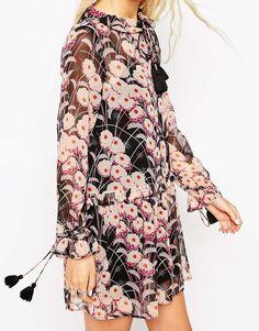 Image 3 ofASOS PETITE Swing Dress with Tassel Tie in Print