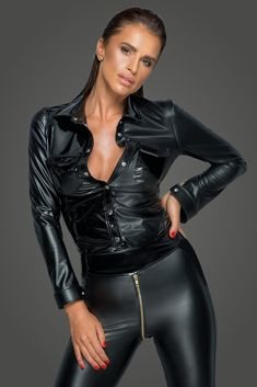 Sexy Bluse, Wet Look, Models, Look Fashion, Feminine Fashion, Leather Pants, Leather Outfits, Black Leather, Lady