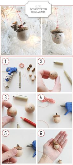 21 Creative DIY Christmas Decorations Acorn ornaments. Quite possibly the cutest thing I have seen this week.