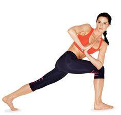 Get a total body workout with the Twisted Lunge exercise. You'll tone inner thighs, abs, obliques, and quads.