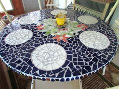 Large Round Mosaic Table