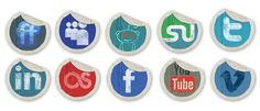design deck | Grunge Peeling Stickers Social Media Icons