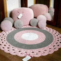 Crochet pattern for Abigail rug, size A pdf file will be sent to your email instantly after payment is received. The pattern is written very clearly upon 7 pages and includes a crochet chart. Please use this pattern for personal use only. Crochet Doily Rug, Crochet Rug Patterns, Crochet Carpet, Love Crochet, Knit Crochet, Floor Pouf, Floor Rugs, Crochet Projects, Crochet Patterns