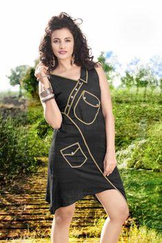 Description: Buy black cotton designer kurti with best price at Variation. Huge collection of designer kurtis online shopping, printed kurtis, Indo Western kurtis and tunics of latest designs. Product